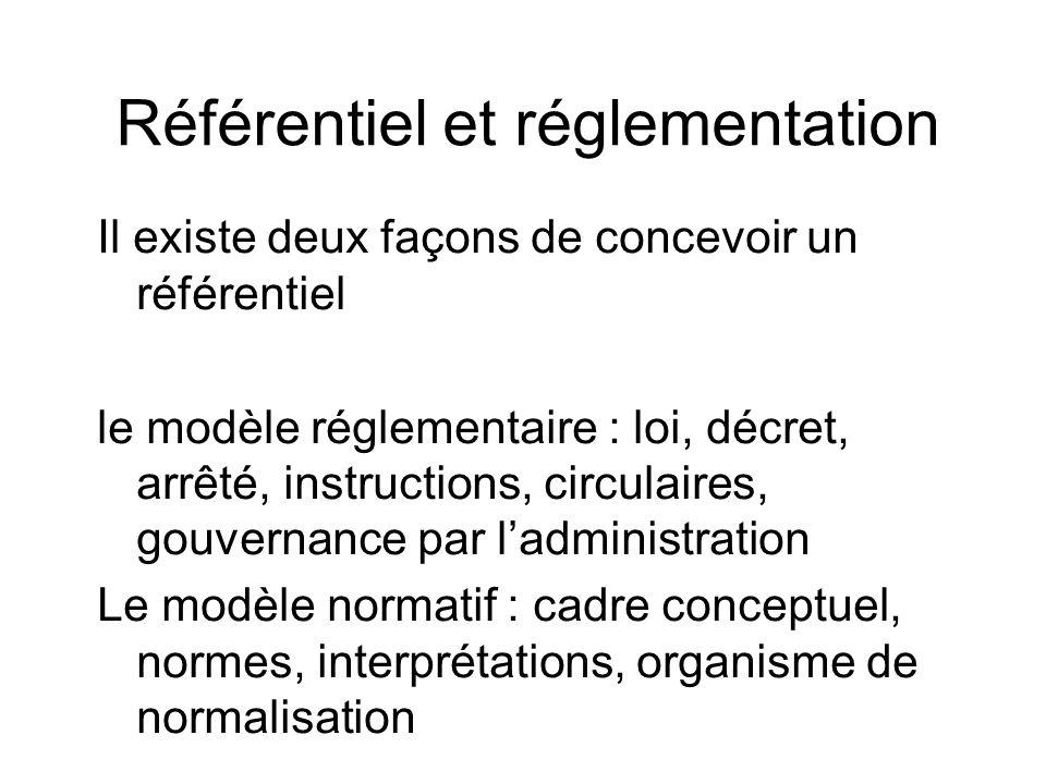 Référentiel et réglementation