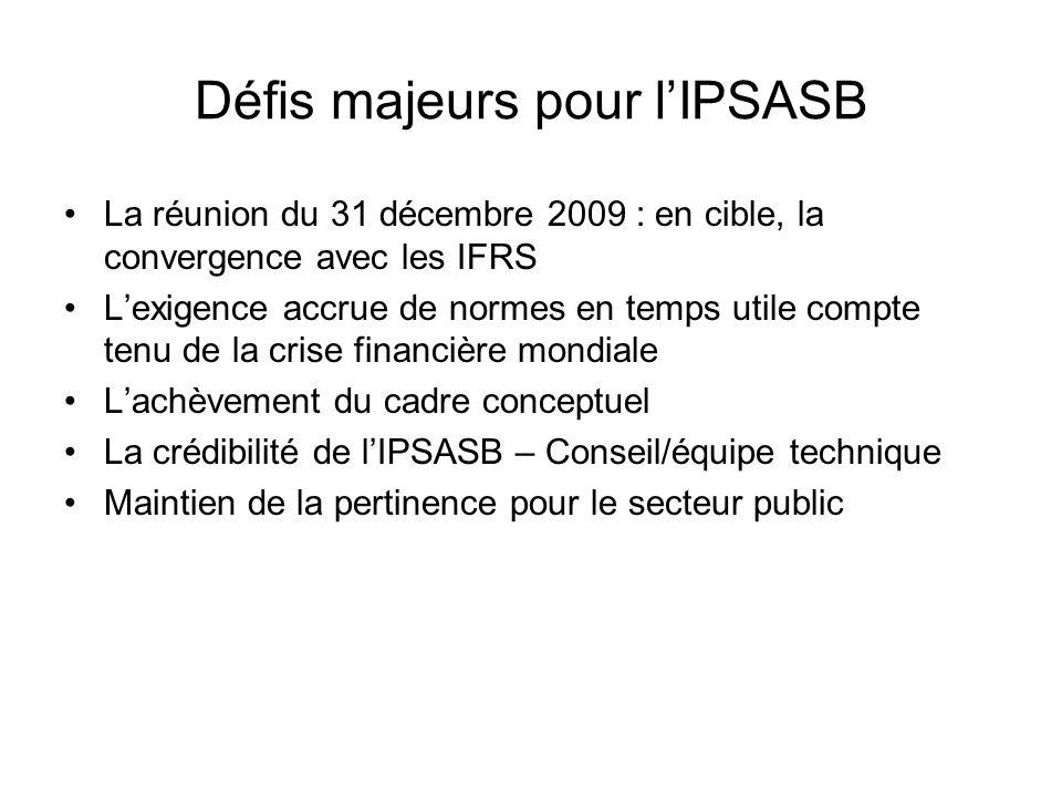 Défis majeurs pour l'IPSASB