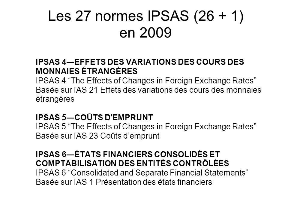Les 27 normes IPSAS (26 + 1) en 2009