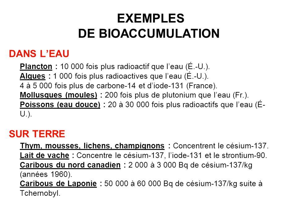 EXEMPLES DE BIOACCUMULATION