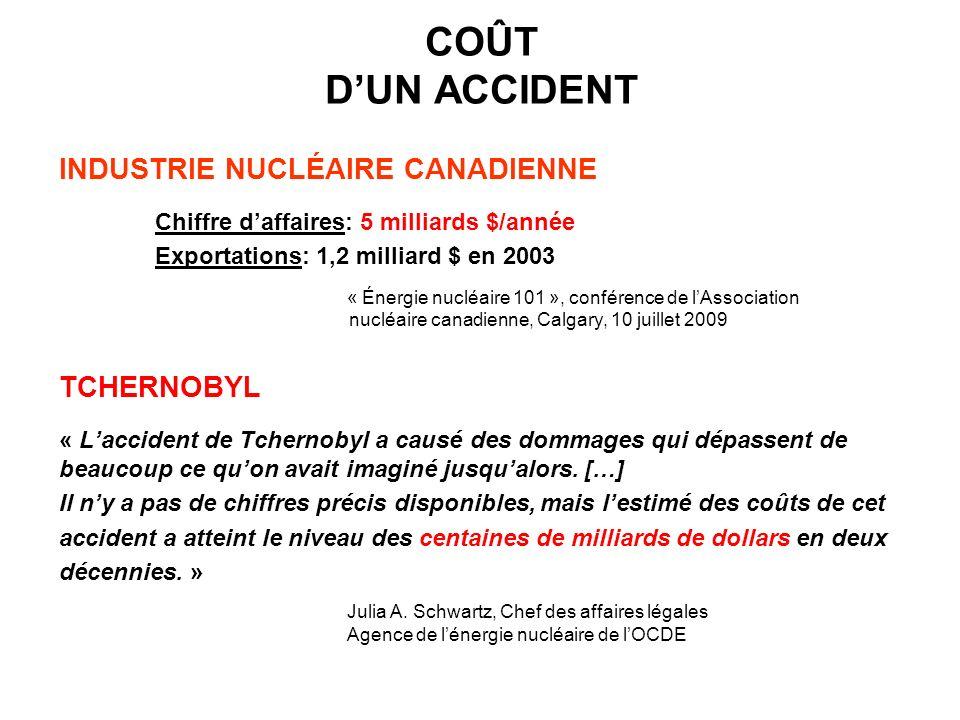 COÛT D'UN ACCIDENT INDUSTRIE NUCLÉAIRE CANADIENNE TCHERNOBYL