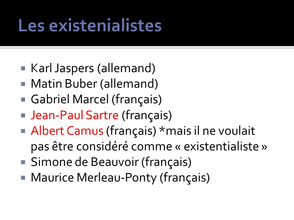 Les existenialistes Karl Jaspers (allemand) Matin Buber (allemand)