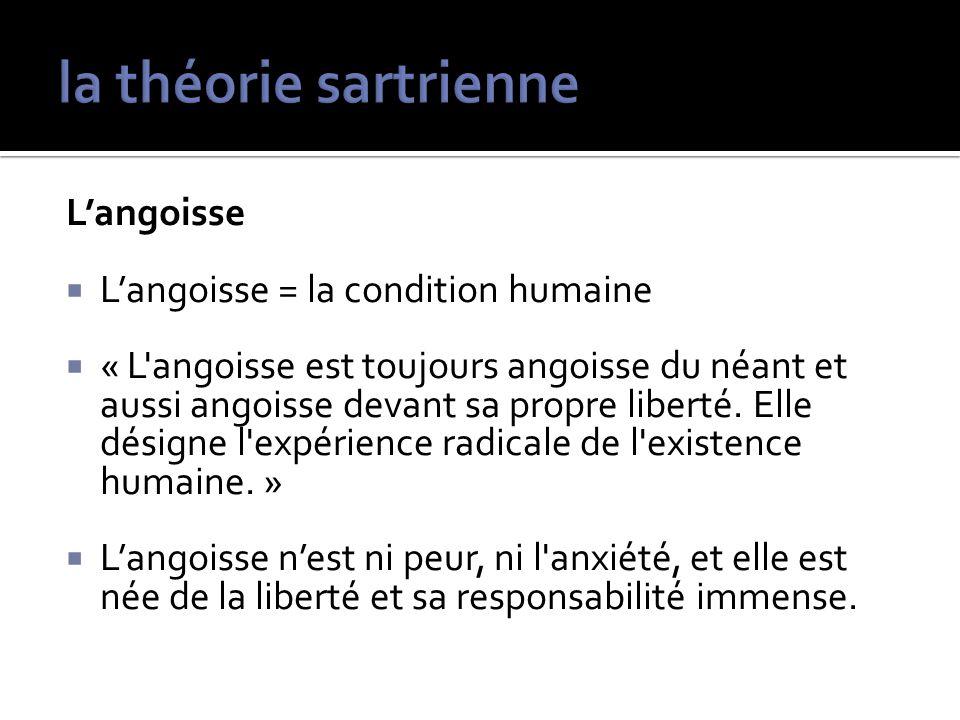 la théorie sartrienne L'angoisse L'angoisse = la condition humaine