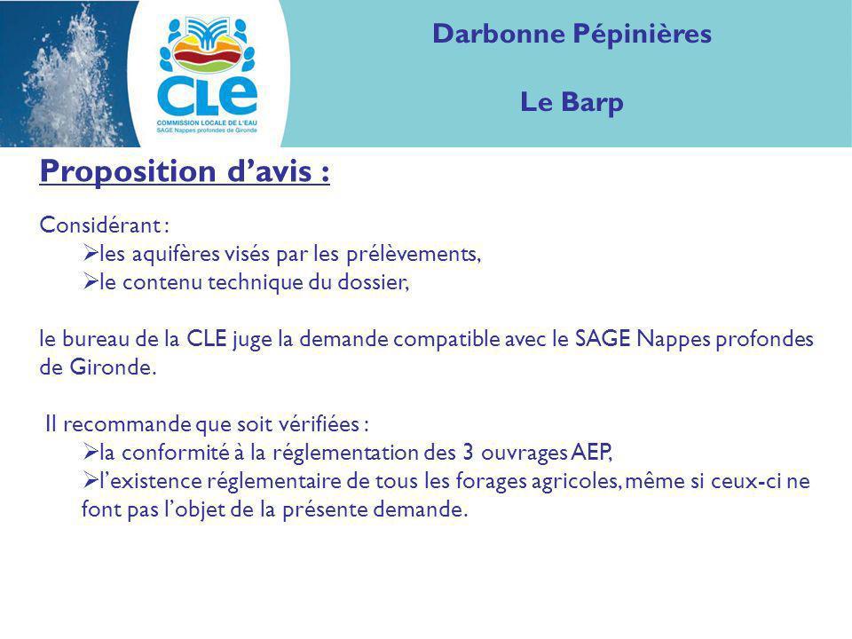 Proposition d'avis : Darbonne Pépinières Le Barp Considérant :