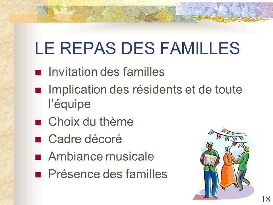 LE REPAS DES FAMILLES Invitation des familles