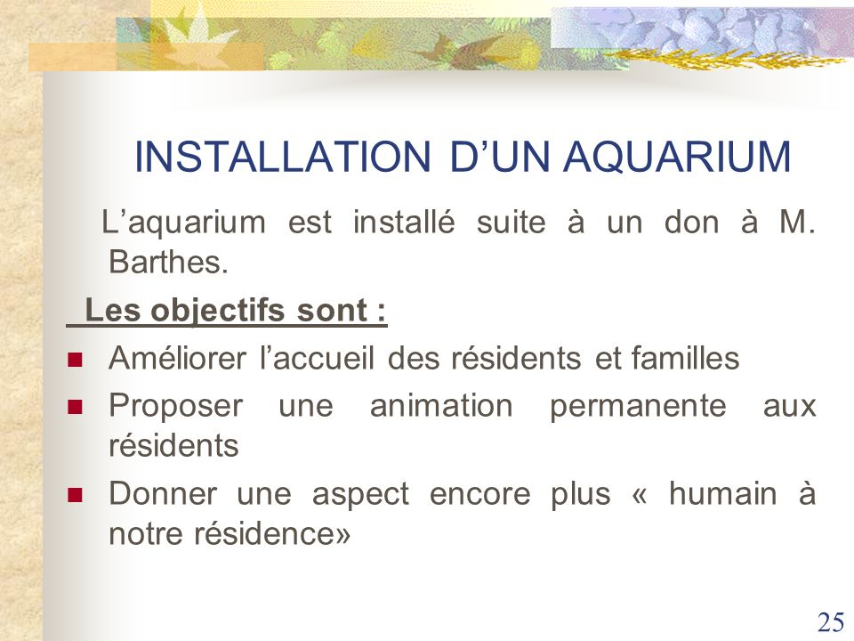 INSTALLATION D'UN AQUARIUM