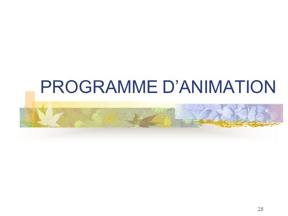 PROGRAMME D'ANIMATION
