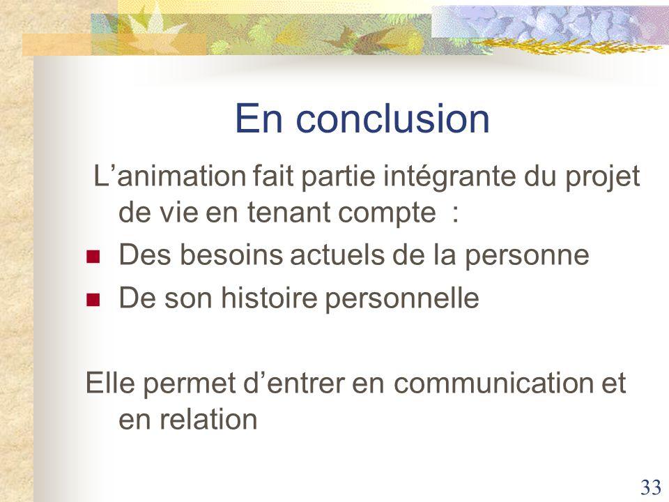 En conclusion L'animation fait partie intégrante du projet de vie en tenant compte : Des besoins actuels de la personne.