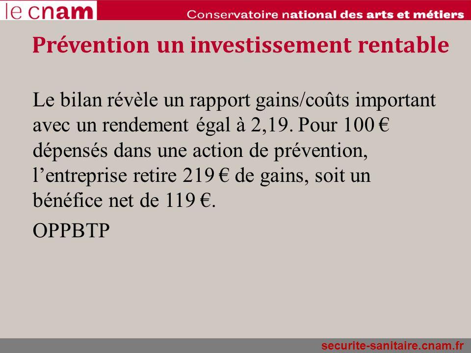 Prévention un investissement rentable