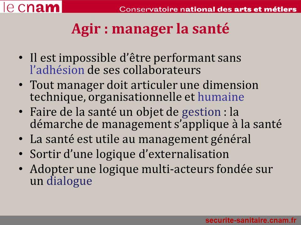Agir : manager la santé Il est impossible d'être performant sans l'adhésion de ses collaborateurs.