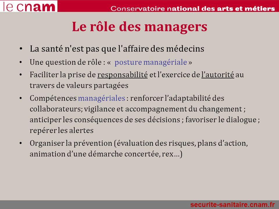 Le rôle des managers La santé n est pas que l affaire des médecins
