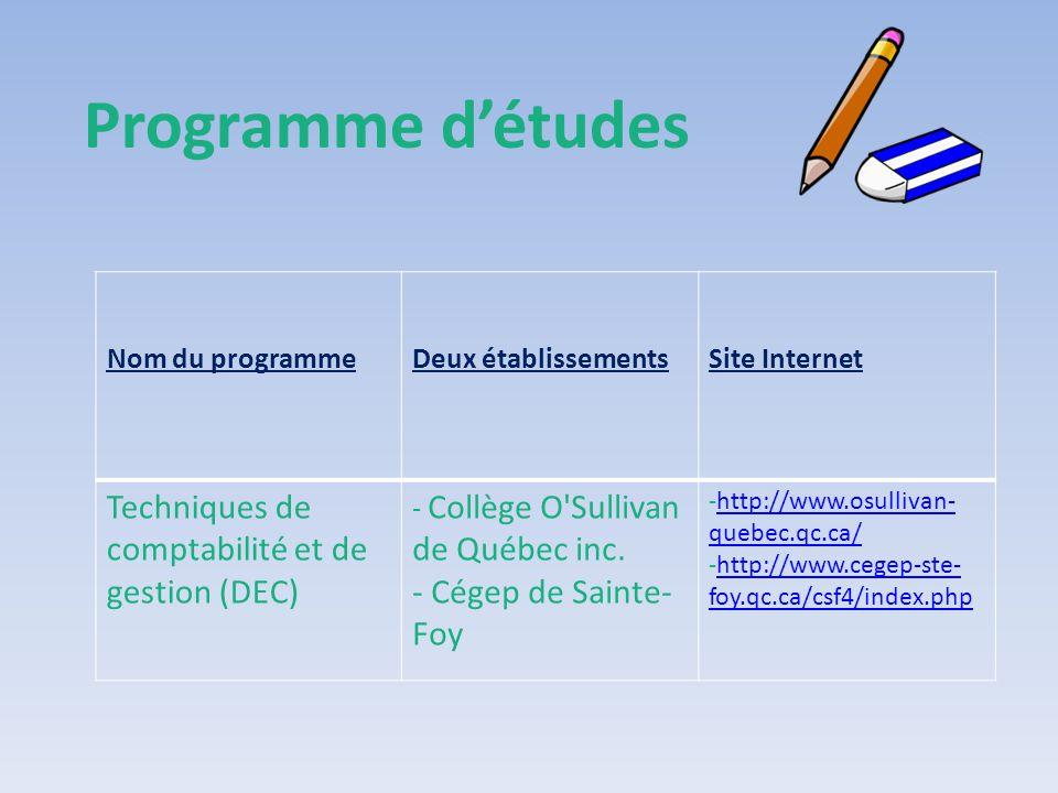 Programme d'études Techniques de comptabilité et de gestion (DEC)
