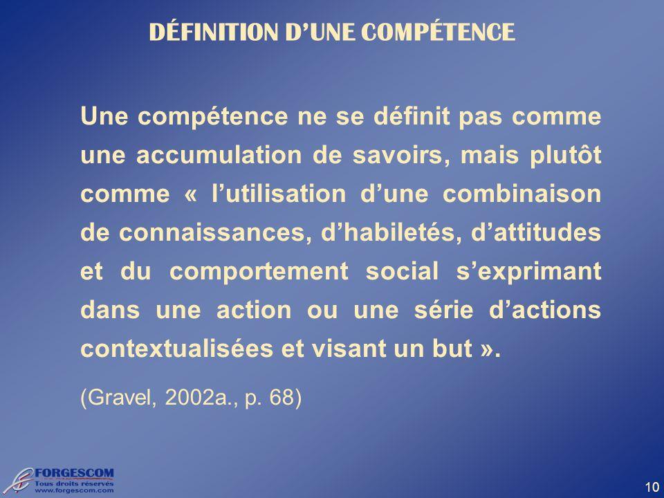 DÉFINITION D'UNE COMPÉTENCE