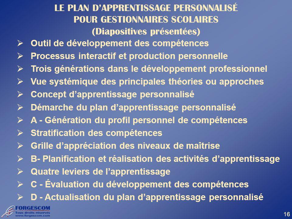 LE PLAN D'APPRENTISSAGE PERSONNALISÉ POUR GESTIONNAIRES SCOLAIRES (Diapositives présentées)
