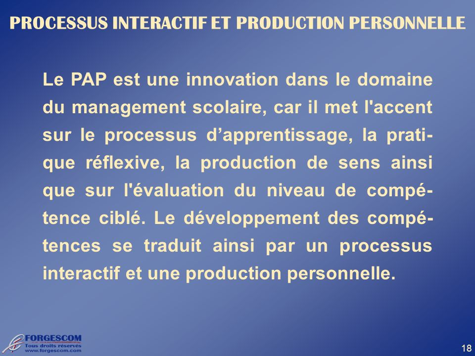 PROCESSUS INTERACTIF ET PRODUCTION PERSONNELLE