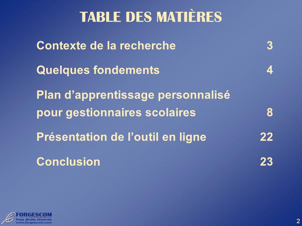 TABLE DES MATIÈRES Contexte de la recherche 3 Quelques fondements 4