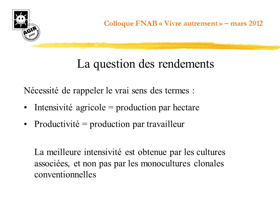 La question des rendements