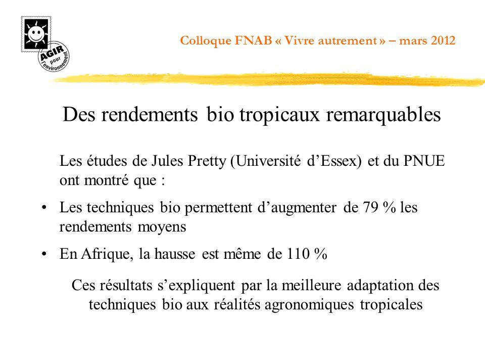 Des rendements bio tropicaux remarquables