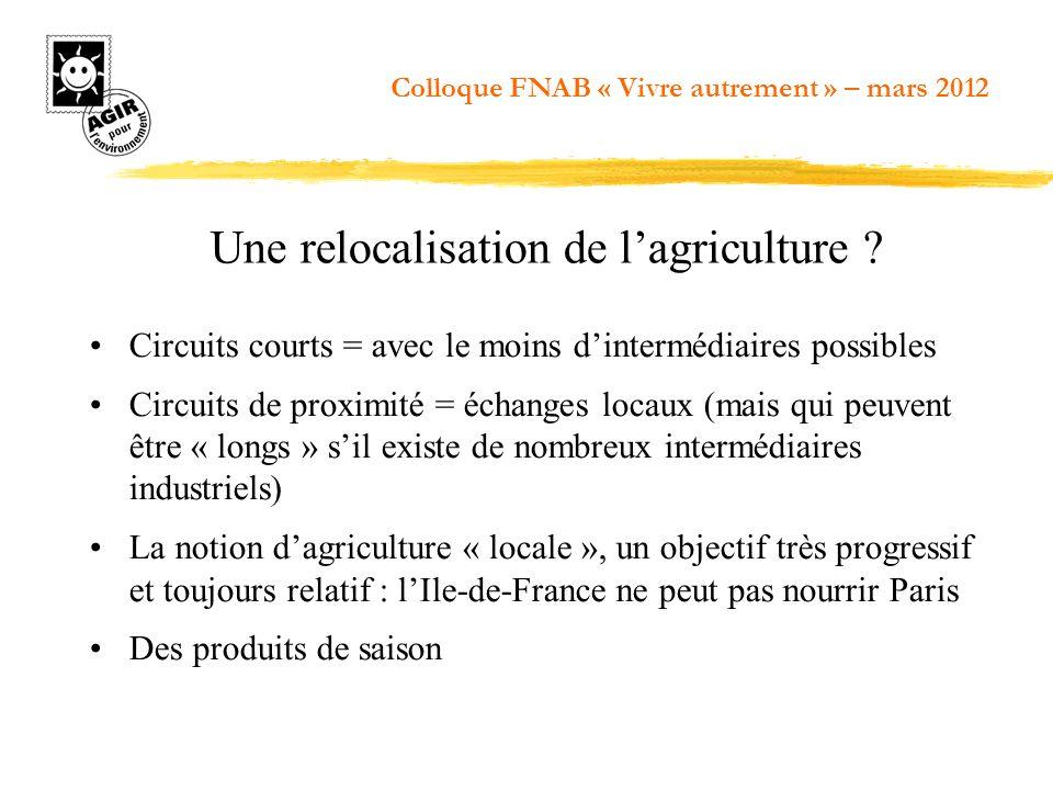 Une relocalisation de l'agriculture