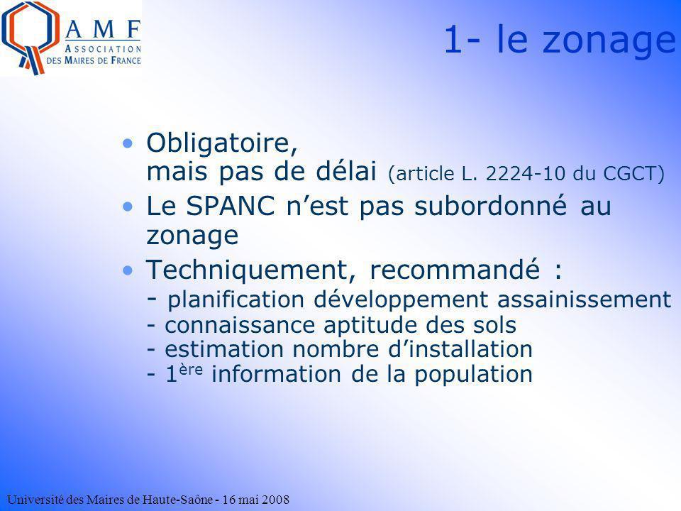 1- le zonageObligatoire, mais pas de délai (article L. 2224-10 du CGCT) Le SPANC n'est pas subordonné au zonage.