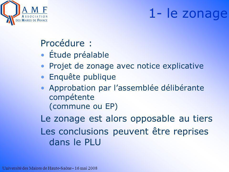1- le zonage Procédure : Le zonage est alors opposable au tiers