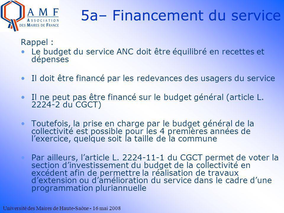 5a– Financement du service