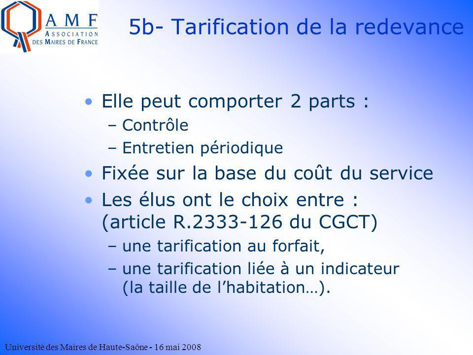 5b- Tarification de la redevance