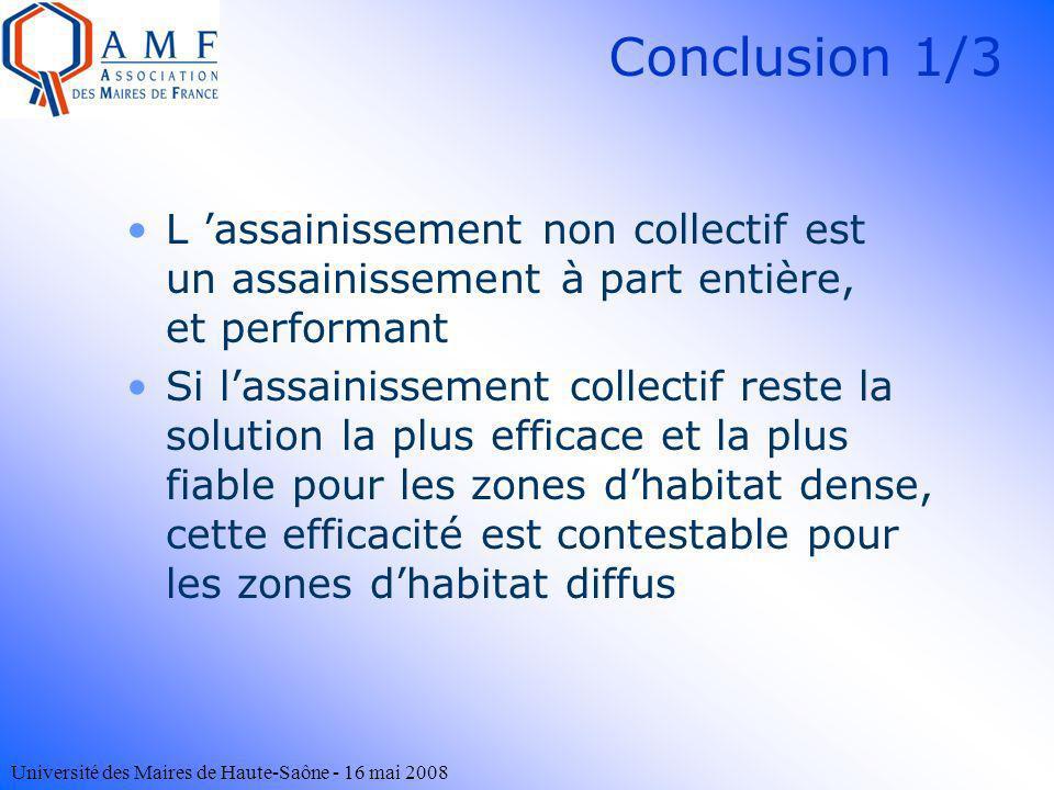 Conclusion 1/3L 'assainissement non collectif est un assainissement à part entière, et performant.