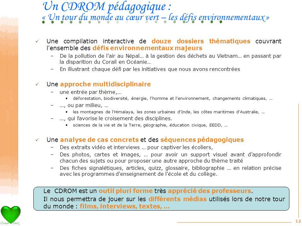 Un CDROM pédagogique : « Un tour du monde au cœur vert – les défis environnementaux »