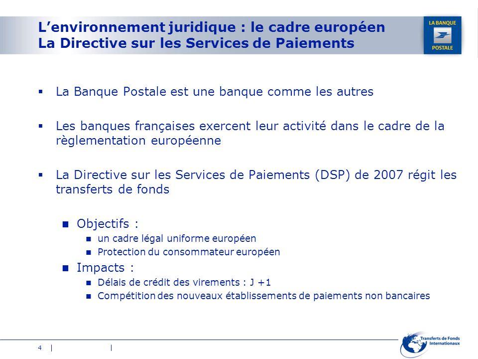 L'environnement juridique : le cadre européen La Directive sur les Services de Paiements