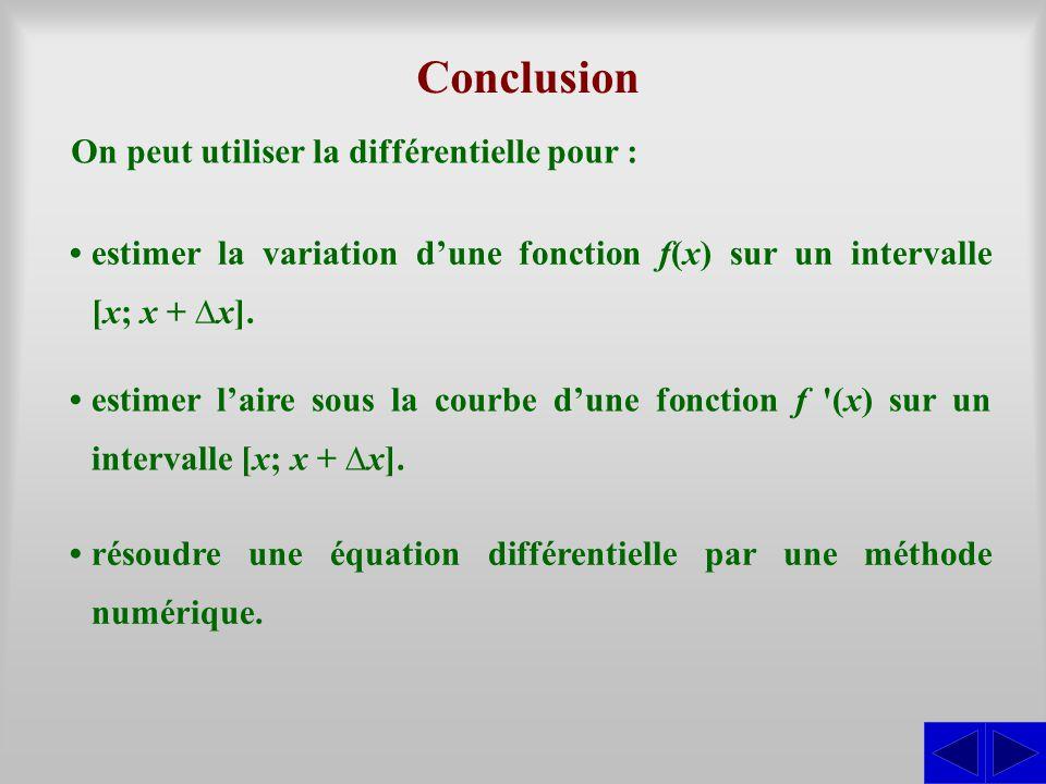 Conclusion On peut utiliser la différentielle pour :