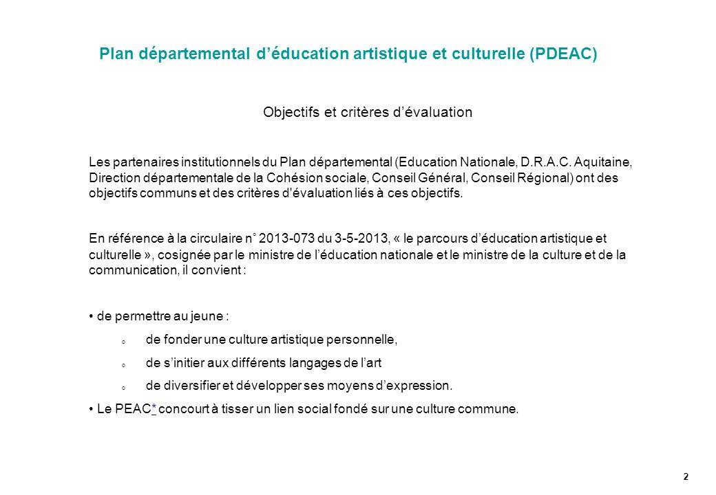 Plan départemental d'éducation artistique et culturelle (PDEAC)