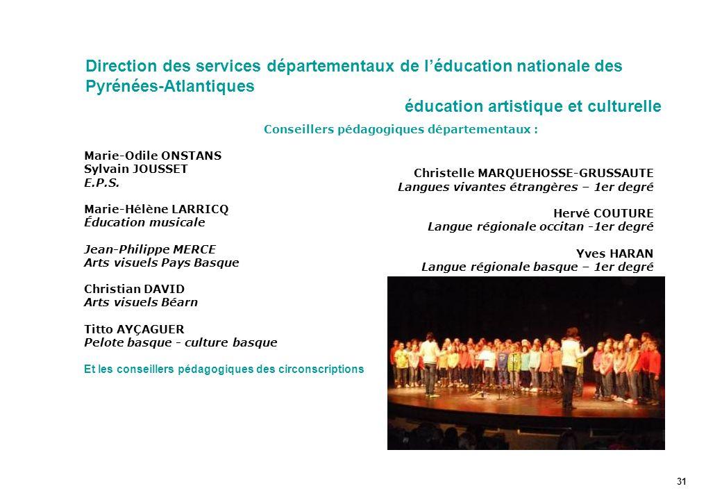 Direction des services départementaux de l'éducation nationale des Pyrénées-Atlantiques éducation artistique et culturelle