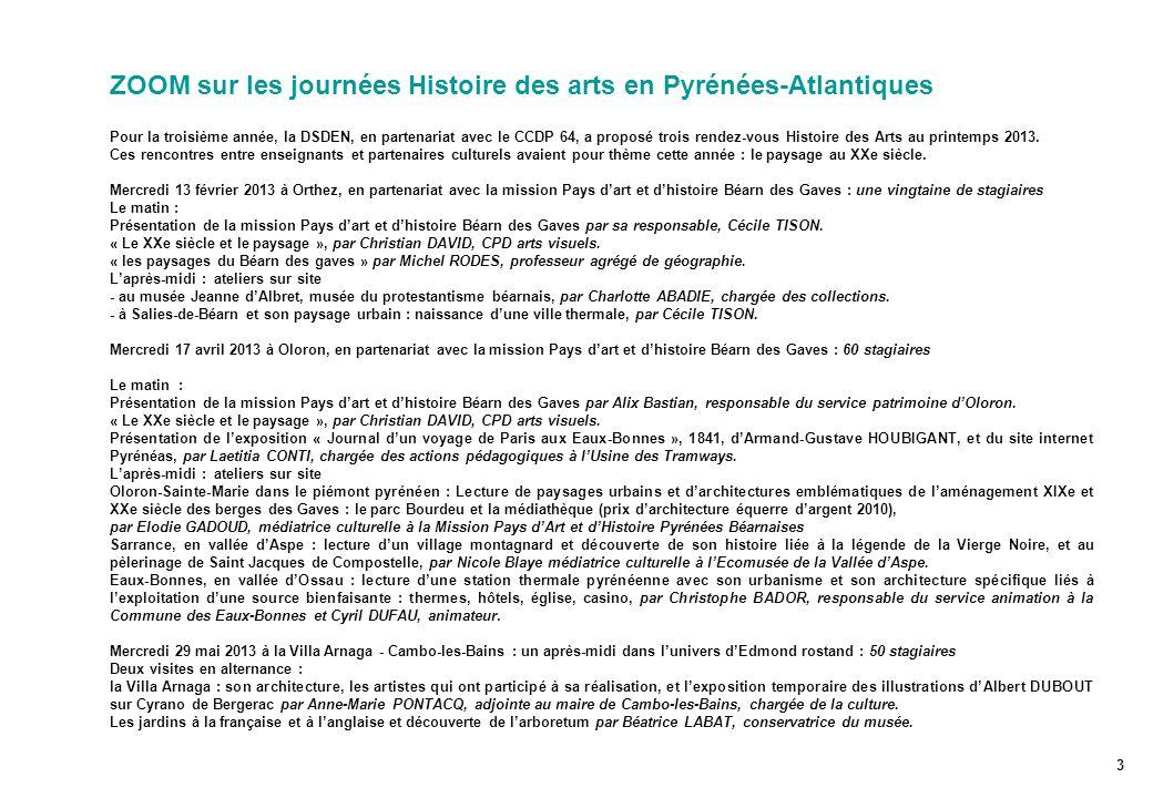 ZOOM sur les journées Histoire des arts en Pyrénées-Atlantiques