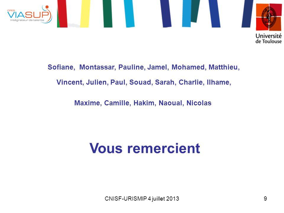 Vous remercient Sofiane, Montassar, Pauline, Jamel, Mohamed, Matthieu,