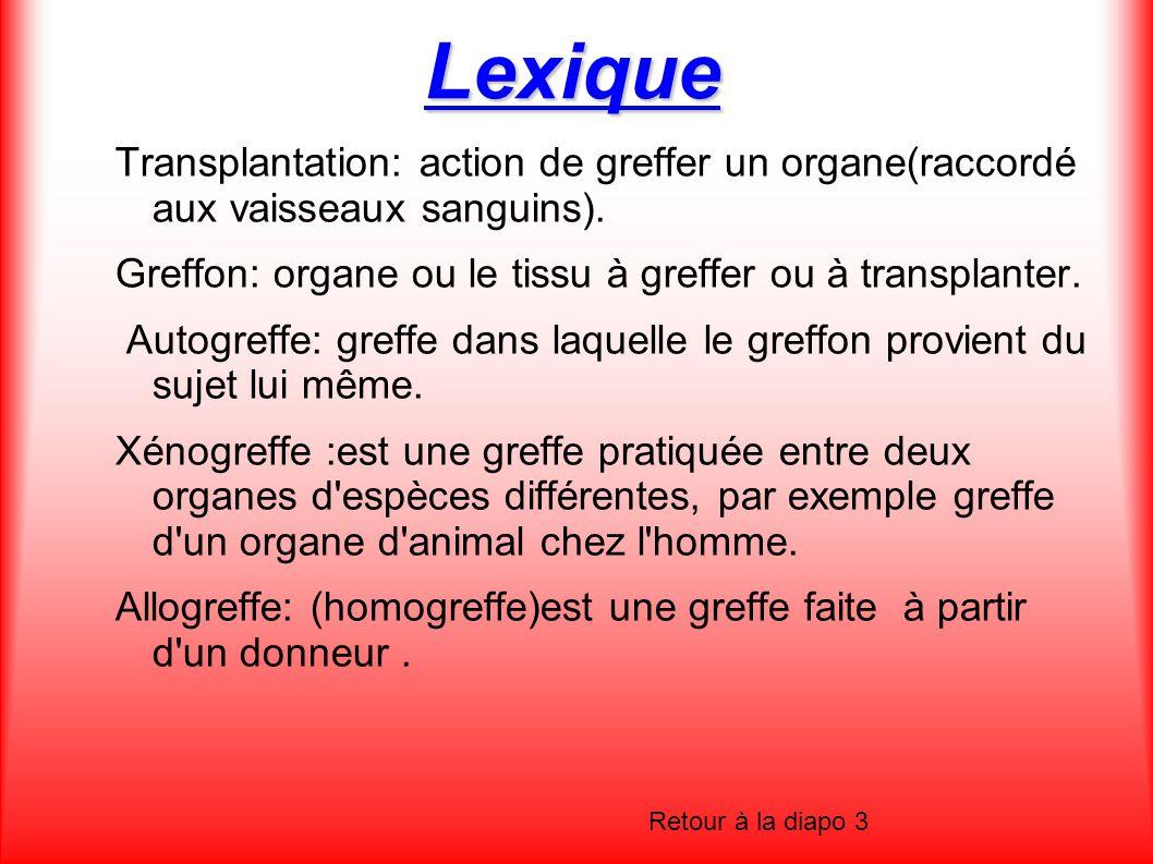 Lexique Transplantation: action de greffer un organe(raccordé aux vaisseaux sanguins). Greffon: organe ou le tissu à greffer ou à transplanter.