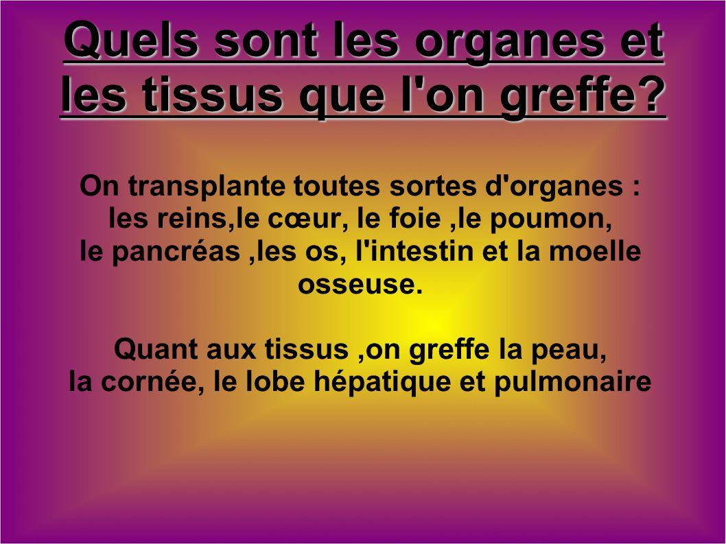 Quels sont les organes et les tissus que l on greffe