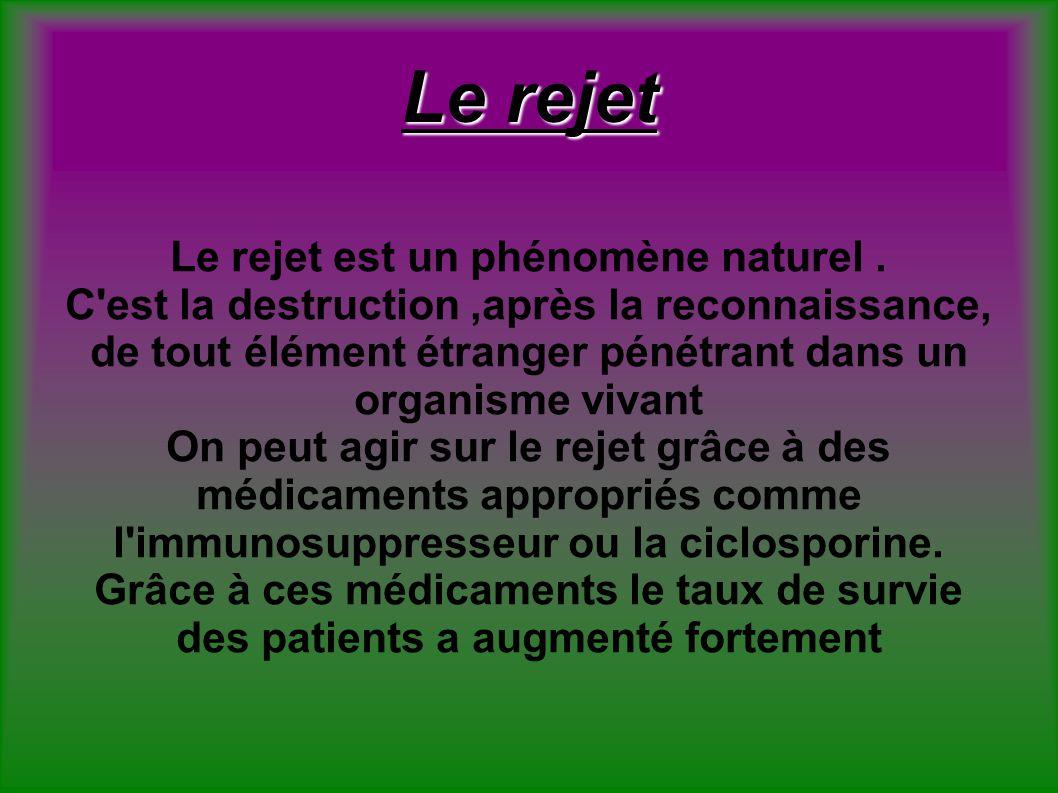 Le rejet Le rejet est un phénomène naturel .