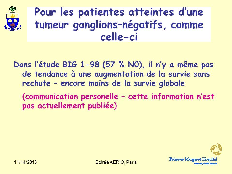 Pour les patientes atteintes d'une tumeur ganglions–négatifs, comme celle-ci