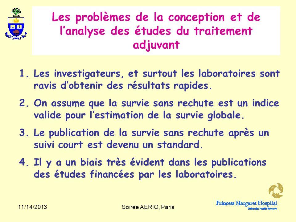 Les problèmes de la conception et de l'analyse des études du traitement adjuvant