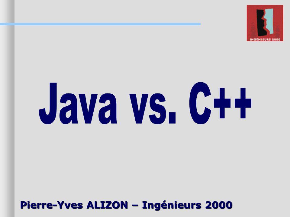 Java vs. C++ Pierre-Yves ALIZON – Ingénieurs 2000