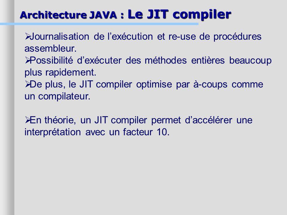 Journalisation de l'exécution et re-use de procédures assembleur.