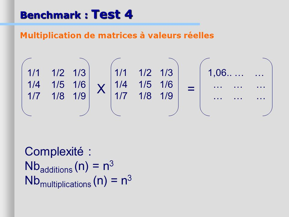 X = Complexité : Nbadditions (n) = n3 Nbmultiplications (n) = n3