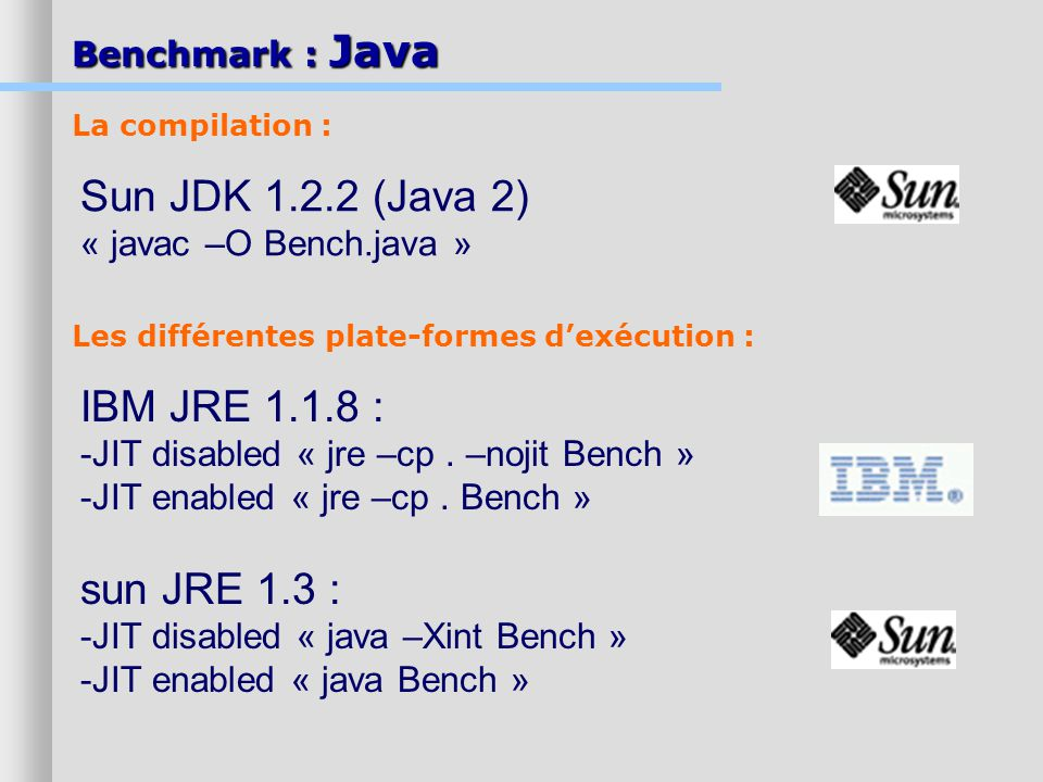 Sun JDK 1.2.2 (Java 2) IBM JRE 1.1.8 : sun JRE 1.3 :