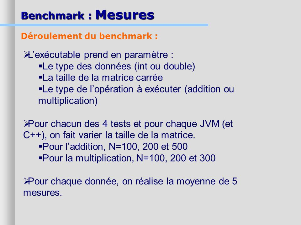 Benchmark : Mesures L'exécutable prend en paramètre :