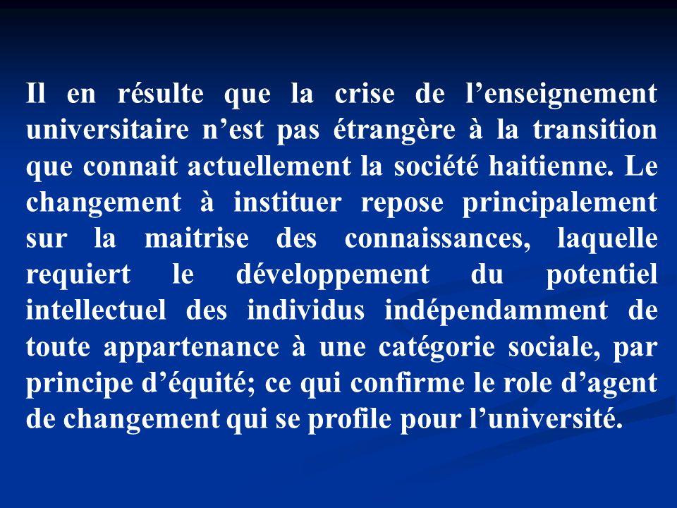 Il en résulte que la crise de l'enseignement universitaire n'est pas étrangère à la transition que connait actuellement la société haitienne.