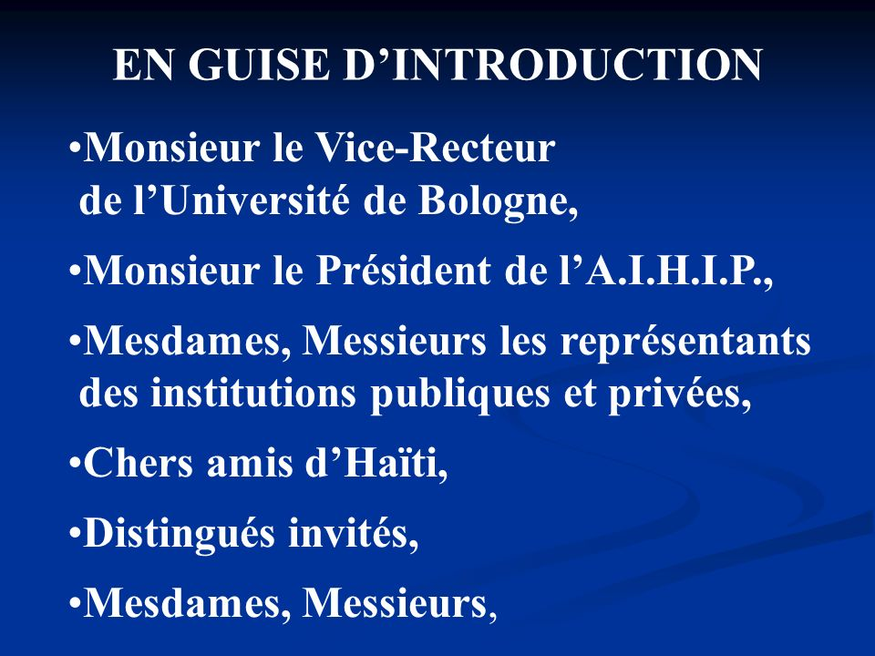 EN GUISE D'INTRODUCTION