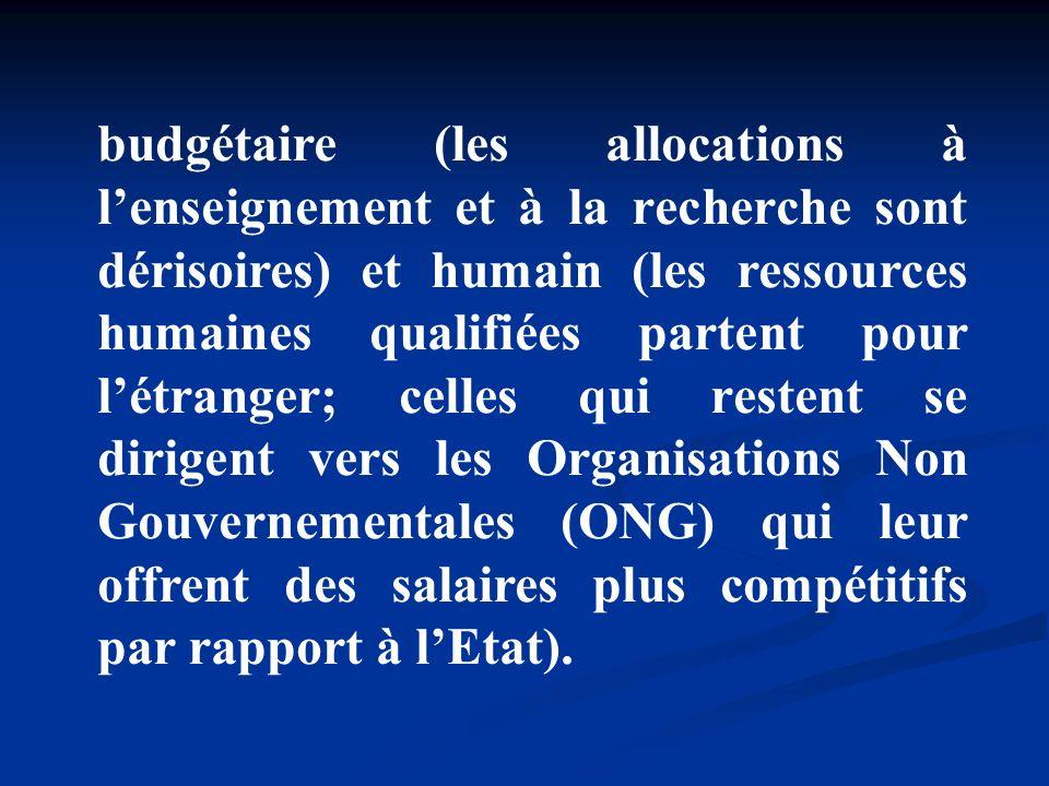 budgétaire (les allocations à l'enseignement et à la recherche sont dérisoires) et humain (les ressources humaines qualifiées partent pour l'étranger; celles qui restent se dirigent vers les Organisations Non Gouvernementales (ONG) qui leur offrent des salaires plus compétitifs par rapport à l'Etat).