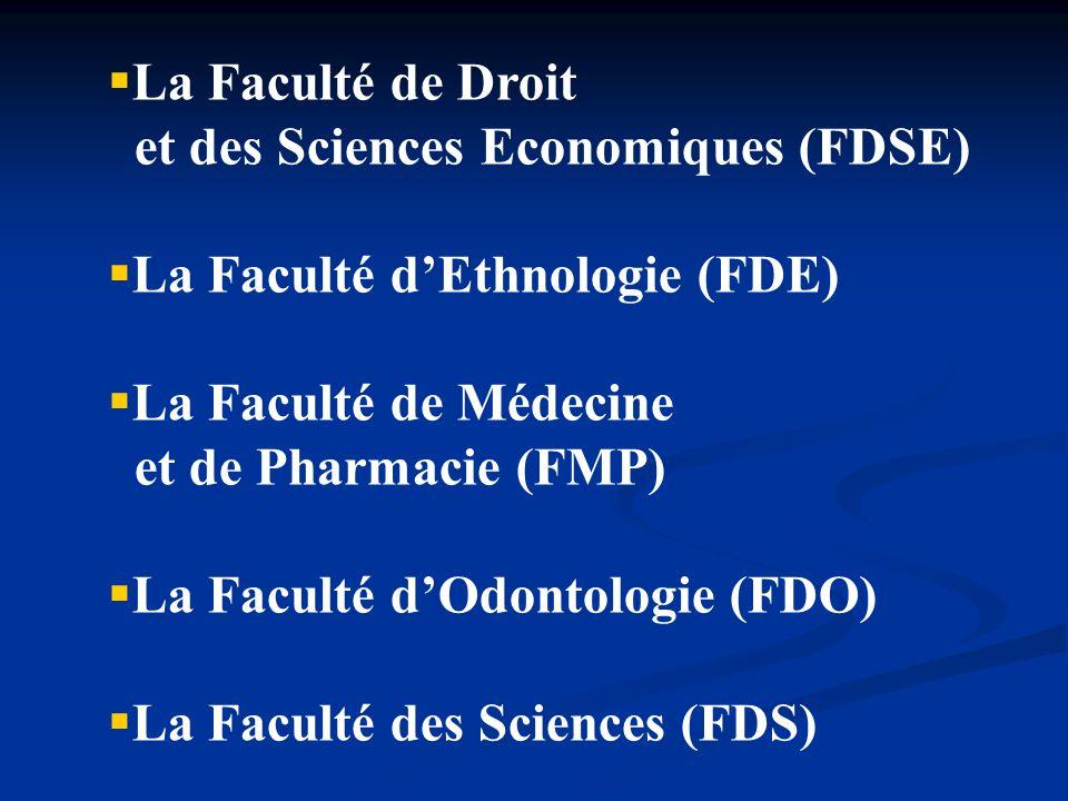 La Faculté de Droit et des Sciences Economiques (FDSE) La Faculté d'Ethnologie (FDE) La Faculté de Médecine.