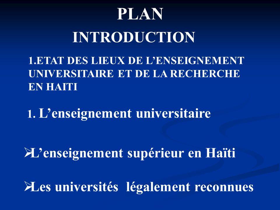 PLAN INTRODUCTION L'enseignement supérieur en Haïti